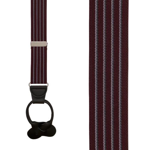 Pinstripe Elastic Suspenders in Burgundy - Front View