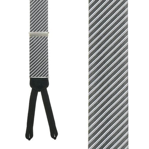 Black Formal Diagonal Stripe Silk Suspenders - Front View