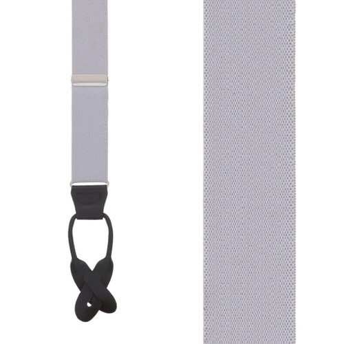 1.25 In Wide Button Suspenders in Light Grey - Front View