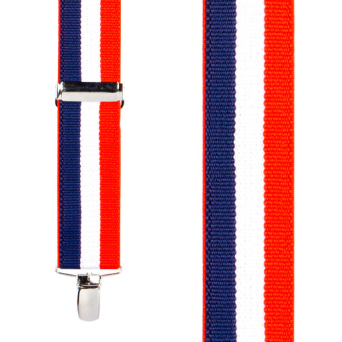 Front View - Red/White/Blue Striped Clip Suspenders - 1.5 Inch Wide