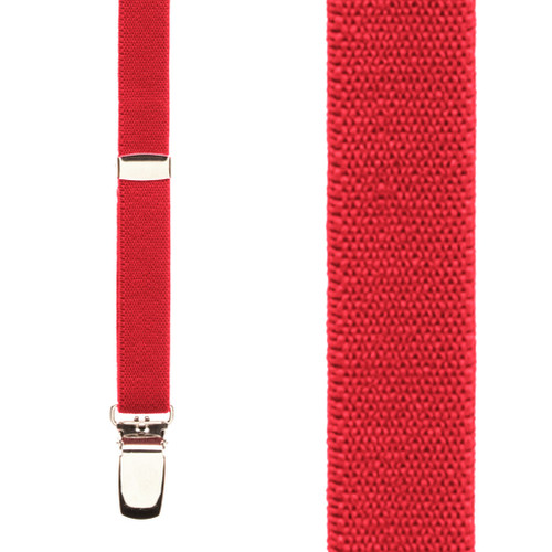 3/4 Inch Wide Thin Suspenders - RED (Matte) - Front View