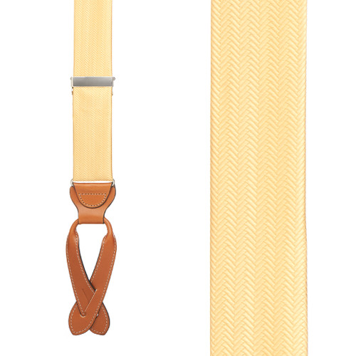 Yellow Herringbone Silk Suspenders - Front View