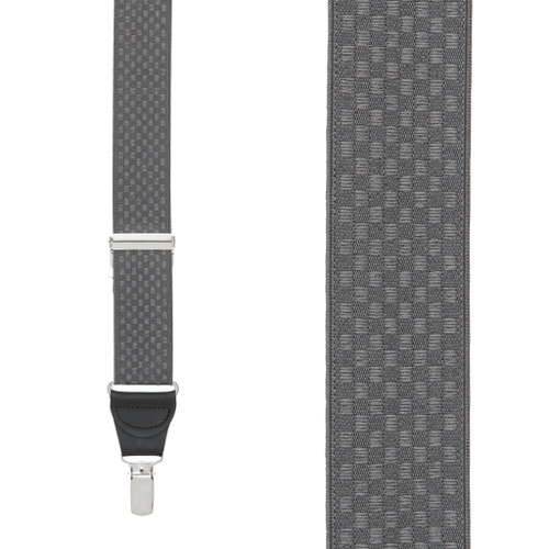 Checkered Jacquard Suspenders in Grey - Front View