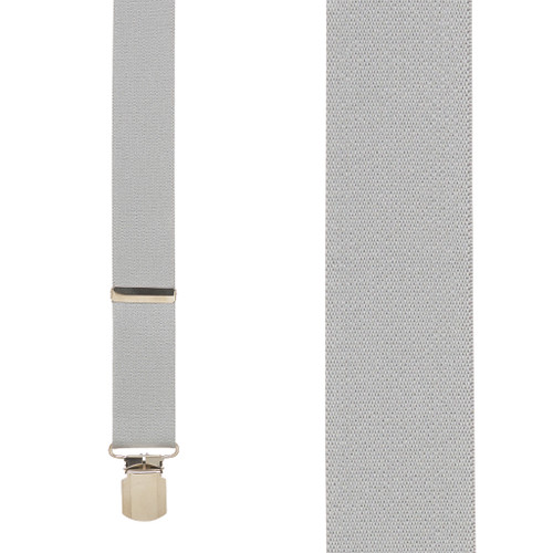 Front View - 1.5 Inch Wide Pin Clip Suspenders - LIGHT GREY