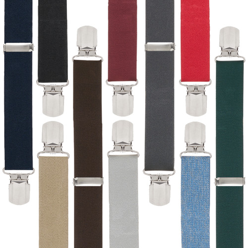 f42d6055af8 Big   Tall Suspenders - 1.5 Inch Wide Solid Pin Clip