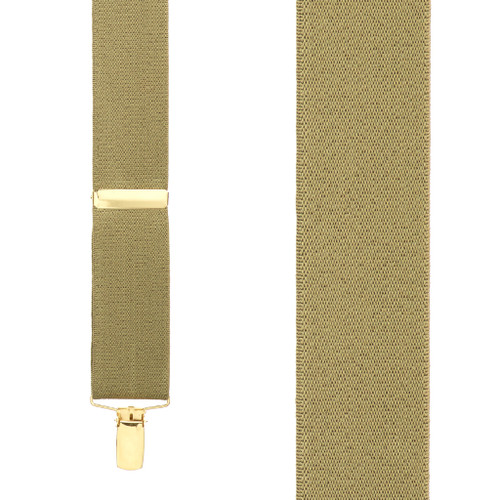 1.5 Inch Wide Brass Clip Suspenders in Tan - Front View