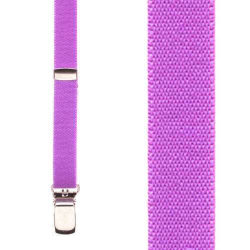 Skinny Suspenders in Neon Purple - Front View