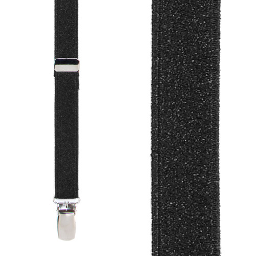 Black Glitter Suspenders - 1 Inch Wide Clip - Front View
