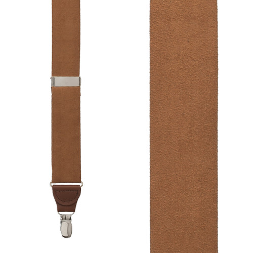 Suede Drop Clip Suspenders - Front View