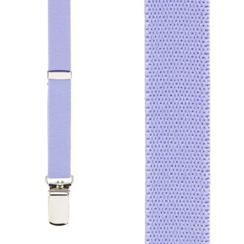 3/4 Inch Skinny Suspenders in Light Purple - Front View