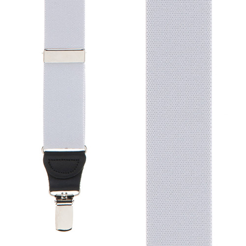 1.25 Inch Wide Y-Back Clip Suspenders in Light Grey - Front View