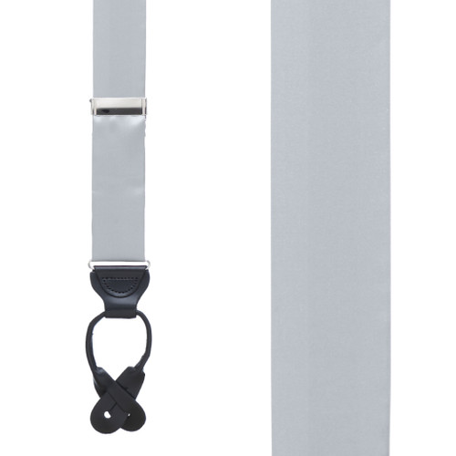 Bangkok Silk Suspenders in Grey - Front View