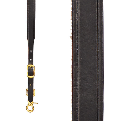 Plain Tooled 1 Inch Wide Western Leather Suspenders - BLACK Front View