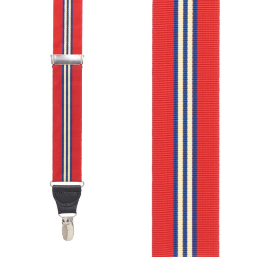Grosgrain Clip Suspenders - Red Thin Stripe Front View