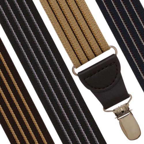 Pinstripe Elastic Drop Clip Suspenders (Y-Back)
