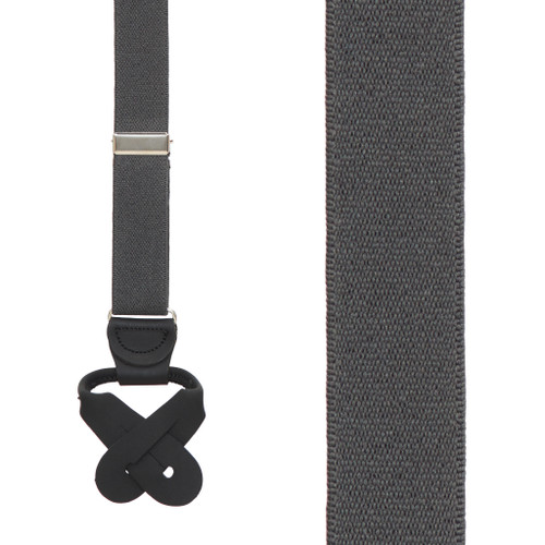 1-Inch Wide Button Suspenders in Dark Grey - Front View