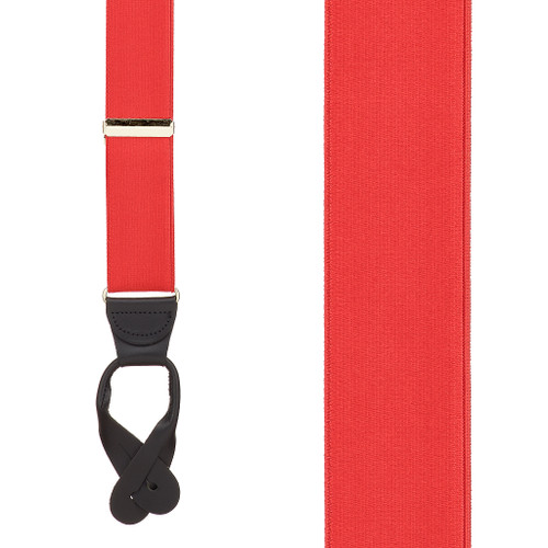 Red French Satin Suspenders - 1.5 Inch Wide Button Front View