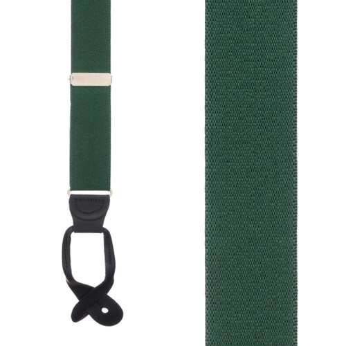 1.25 Inch Wide Button Suspenders in Hunter - Front View