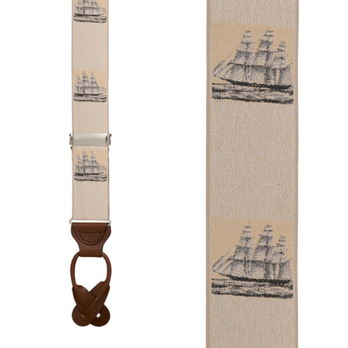 Vintage Ribbon Prior Sail Suspenders - BUTTON Front View