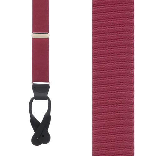 1.5 Inch Wide Button Suspenders in Burgundy - Front View