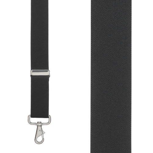 Front View - 1.5 Inch Wide Trigger Snap Suspenders - BLACK