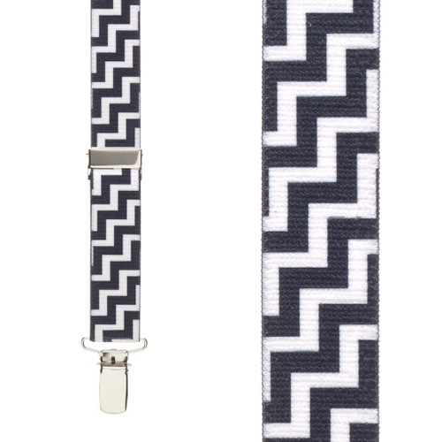 Black & White Zig Zag Suspenders - Front View