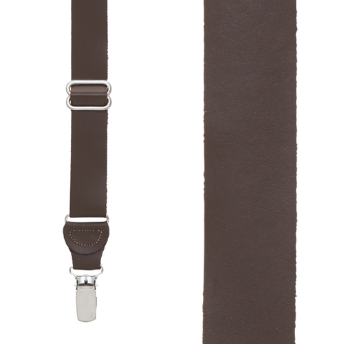 All Leather Clip Suspenders in Brown - Front View