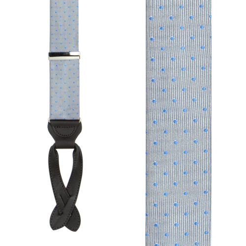 Polka Dot Silk Suspenders - Light Blue on Grey