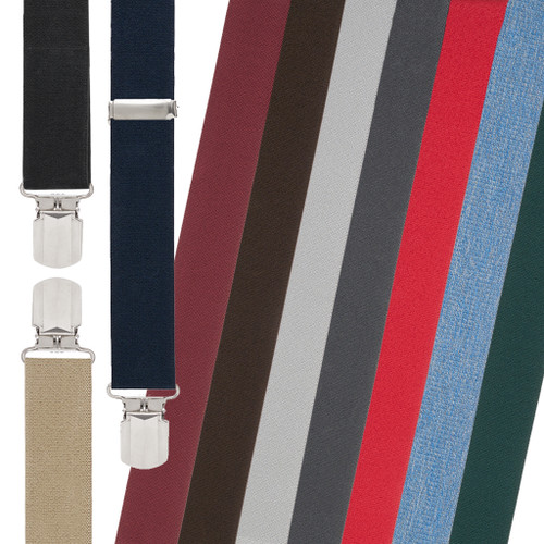 1.5 Inch Wide Solid Pin Clip Suspenders - All Colors