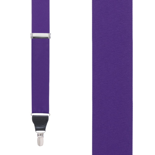 Grosgrain Clip Suspenders in Dark Purple - Front View