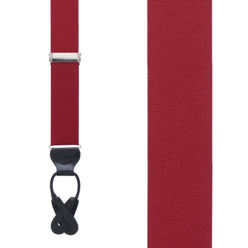 Grosgrain Button Suspenders in Dark Red - Front View