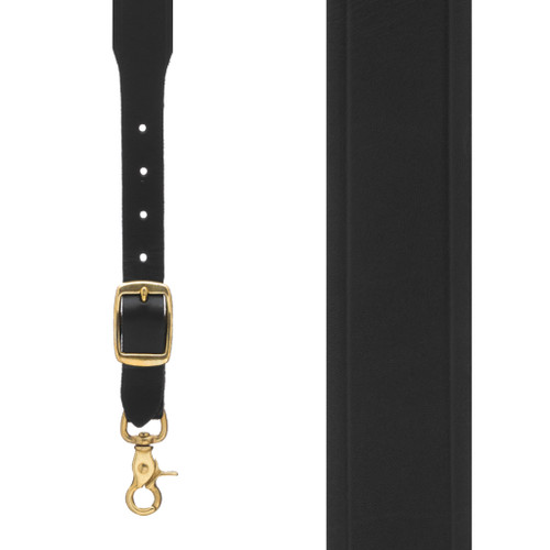 Plain w/Crease Handcrafted Western Leather Suspenders - BLACK Front View