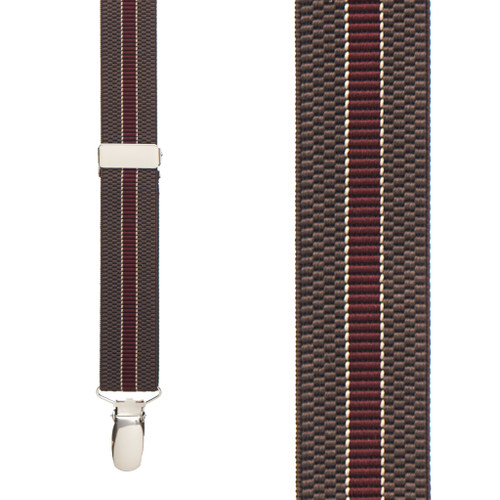Striped Suspenders in Brown & Burgundy - Front View
