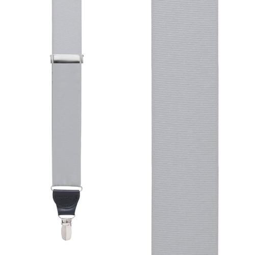 Grosgrain Clip Suspenders - Light Grey Front View