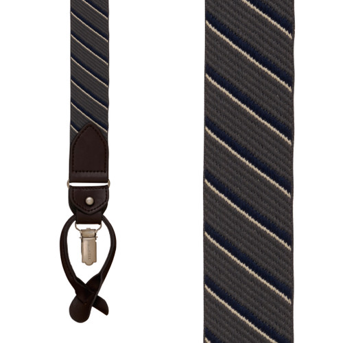 GREY Tommy Hilfiger Diagonal Stripe Suspenders - Convertible Front View
