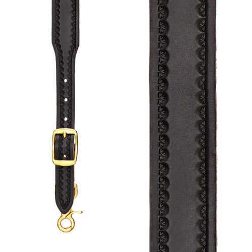 Border Stamped 1.5 Inch Wide Western Leather Suspenders - BLACK