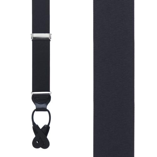 Grosgrain Button Suspenders - Black Front View