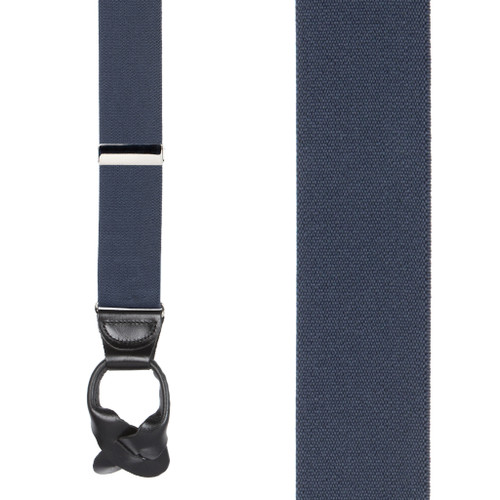 1.5 Inch Wide Button Suspenders  in Navy - Front View