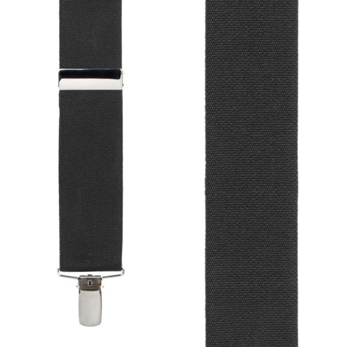 Front View - 1.5 Inch Wide Finger Clip Suspenders - BLACK