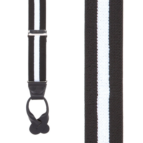 Front View - Black/White Striped Button Suspenders - 1.5 Inch Wide