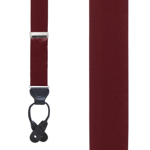 Silk Button Suspenders in Burgundy - Front View