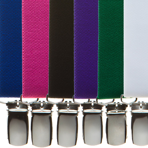 1 Inch Wide Clip X-Back Suspenders - All Colors