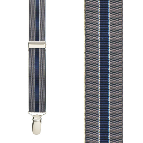 Striped Suspenders in Grey/Navy - Front View