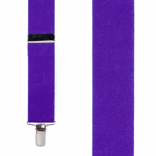1.5 Inch Wide Clip Suspenders in Purple - Front View