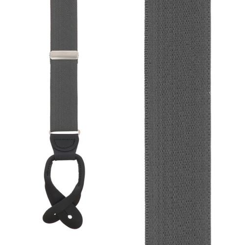 1.25 In Wide Button Suspenders in Dark Grey - Front View