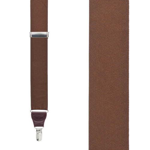 Grosgrain Clip Suspenders - Brown Front View