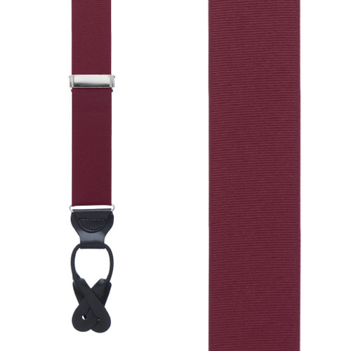 Grosgrain Button Suspenders in Burgundy - Front View