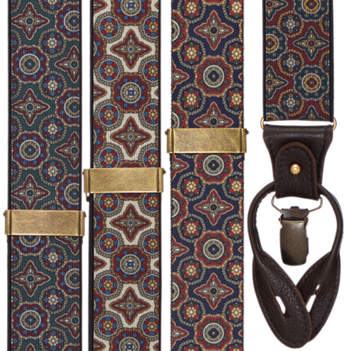 Geometric Pattern Suspenders with Convertible End