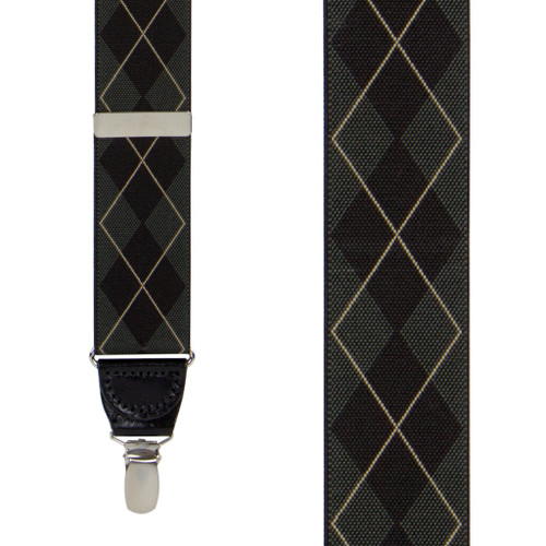 Argyle Suspenders in Olive Green - Front View