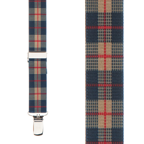 Beige Plaid Suspenders - 1 Inch Wide Clip - Front View